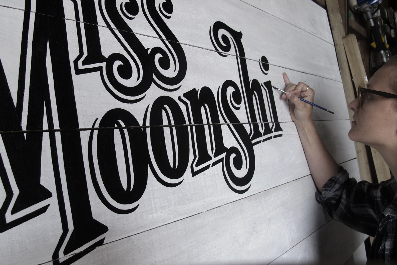 Miss Moonshine's Painting Signage WIP