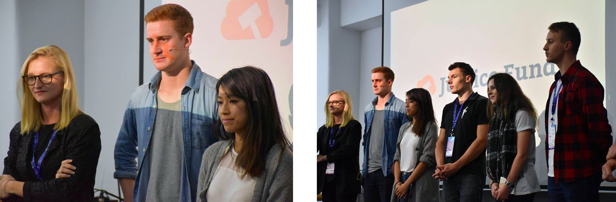 Justice Fund team presenting at Startup Weekend Wellington, May 2016